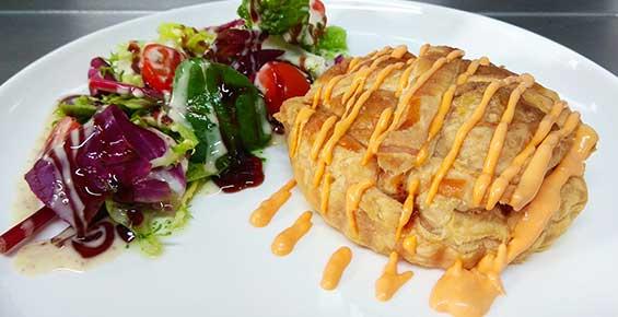 Tartaleta de setas, jamón dulce y queso